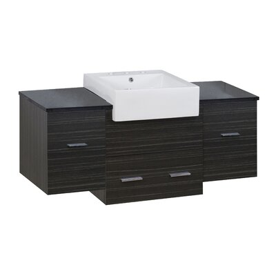 Hindman 51 Wall-Mounted Single Bathroom Vanity Set Base Finish: Dawn Gray, Faucet Mount: 8 Centers