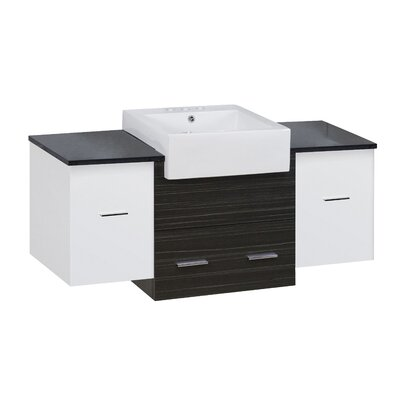 Hindman 51 Wall-Mounted Single Bathroom Vanity Set Base Finish: White/Dawn Gray, Faucet Mount: 4 Centers