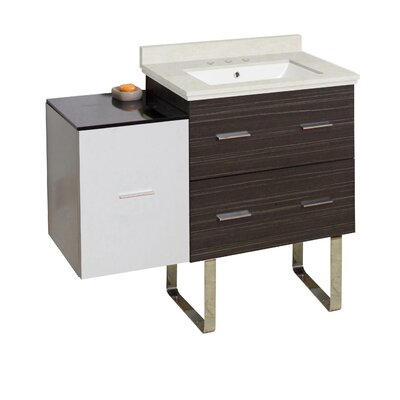 Hinerman 38 Single Bathroom Vanity Set Base/Top Finish: Dawn Gray/White/Beige, Sink Finish: White, Faucet Mount: 8 Centers