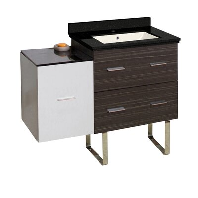 Hinerman 38 Single Bathroom Vanity Set Base/Top Finish: Dawn Gray/White/Black Galaxy, Sink Finish: Biscuit, Faucet Mount: Single Hole