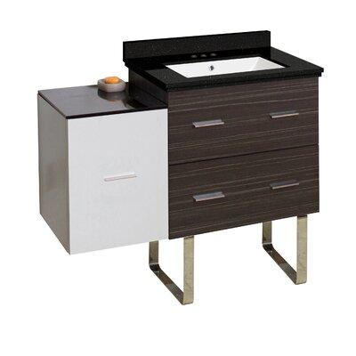 Hinerman 38 Single Bathroom Vanity Set Base/Top Finish: Dawn Gray/White/Black Galaxy, Sink Finish: White, Faucet Mount: 4 Centers