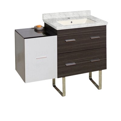 Hinerman 38 Single Bathroom Vanity Set Base/Top Finish: Dawn Gray/White/Bianca Carrara, Sink Finish: Biscuit, Faucet Mount: Single Hole