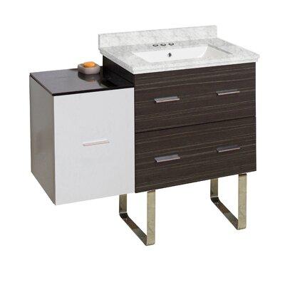 Hinerman 38 Single Bathroom Vanity Set Base/Top Finish: Dawn Gray/White/Bianca Carrara, Sink Finish: White, Faucet Mount: 4 Centers