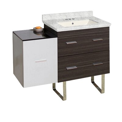 Hinerman 38 Single Bathroom Vanity Set Base/Top Finish: Dawn Gray/White/Bianca Carrara, Sink Finish: Biscuit, Faucet Mount: 4 Centers
