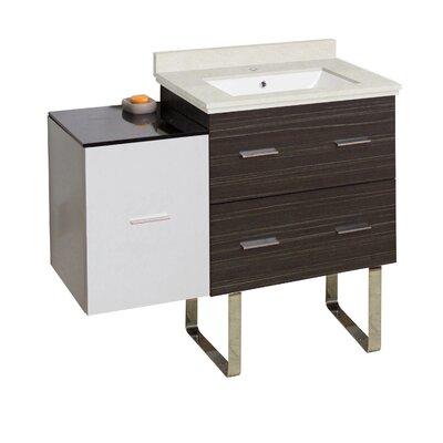 Hinerman 38 Single Bathroom Vanity Set Base/Top Finish: Dawn Gray/White/Beige, Sink Finish: White, Faucet Mount: Single Hole