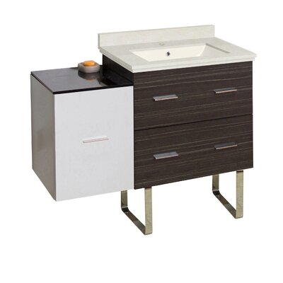 Hinerman 38 Single Bathroom Vanity Set Base/Top Finish: Dawn Gray/White/Beige, Sink Finish: Biscuit, Faucet Mount: Single Hole