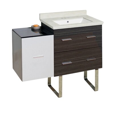 Hinerman 38 Single Bathroom Vanity Set Base/Top Finish: Dawn Gray/White/Beige, Sink Finish: White, Faucet Mount: 4 Centers