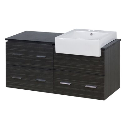 Hindman 49 Wall-Mounted Single Bathroom Vanity Set Faucet Mount: 4 Centers