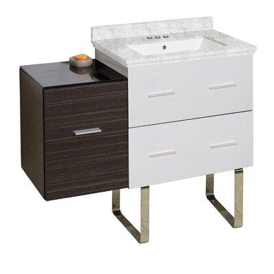 Hinerman 38 Single Bathroom Vanity Set Base/Top Finish: White/Dawn Gray/Bianca Carrara, Sink Finish: White, Faucet Mount: 4 Centers