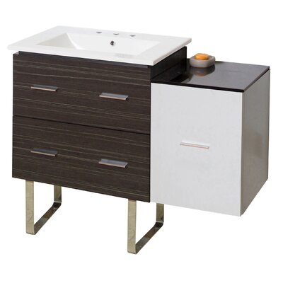 Hinerman 38 Single Bathroom Vanity Set Base Finish: Dawn Gray, Faucet Mount: 8 Centers