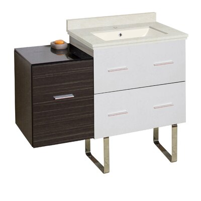 Hinerman 38 Single Bathroom Vanity Set Base/Top Finish: White/Dawn Gray/Beige, Sink Finish: Biscuit, Faucet Mount: Single Hole