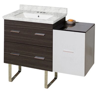 Hinerman 38 Single Bathroom Vanity Set Base/Top Finish: Dawn Gray/White/Bianca Carrara, Sink Finish: White, Faucet Mount: 4 Centers