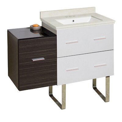 Hinerman 38 Single Bathroom Vanity Set Base/Top Finish: White/Dawn Gray/Beige, Sink Finish: White, Faucet Mount: 4 Centers
