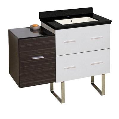 Hinerman 38 Single Bathroom Vanity Set Base/Top Finish: White/Dawn Gray/Black Galaxy, Sink Finish: Biscuit, Faucet Mount: Single Hole