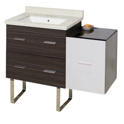 Hinerman 38 Single Bathroom Vanity Set Base/Top Finish: Dawn Gray/White/Beige, Sink Finish: White, Faucet Mount: 4 Centers