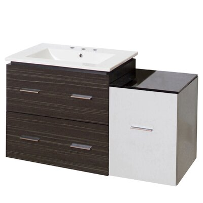 Hinerman 38 Wall-Mounted Single Bathroom Vanity Set Base Finish: Dawn Gray/White, Faucet Mount: 8 Centers