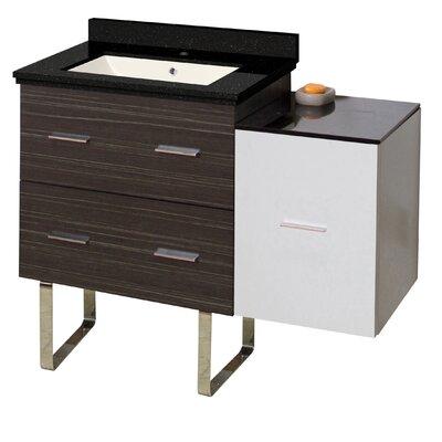 Hinerman 38 Single Bathroom Vanity Set Base/Top Finish: Dawn Gray/White/Black Galaxy, Sink Finish: Biscuit, Faucet Mount: Single Hole