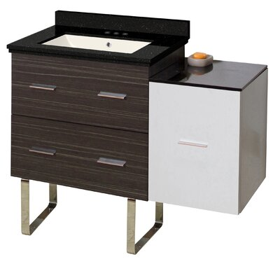 Hinerman 38 Single Bathroom Vanity Set Base/Top Finish: Dawn Gray/White/Black Galaxy, Sink Finish: Biscuit, Faucet Mount: 4 Centers
