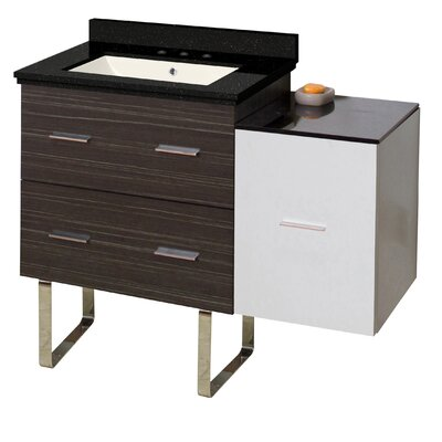 Hinerman 38 Single Bathroom Vanity Set Base/Top Finish: Dawn Gray/White/Black Galaxy, Sink Finish: Biscuit, Faucet Mount: 8 Centers