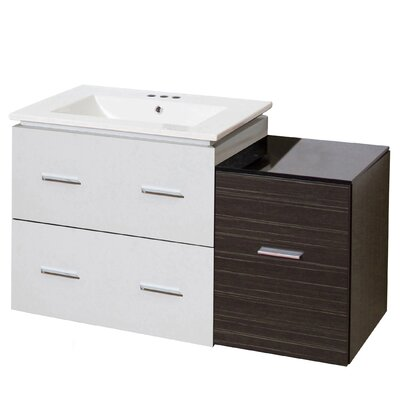 Hinerman 38 Wall-Mounted Single Bathroom Vanity Set Base Finish: White/Dawn Gray, Faucet Mount: 4 Centers