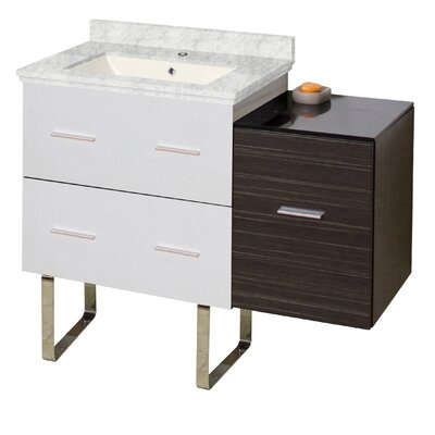 Hinerman 38 Single Bathroom Vanity Set Base/Top Finish: White/Dawn Gray/Bianca Carrara, Sink Finish: Biscuit, Faucet Mount: Single Hole