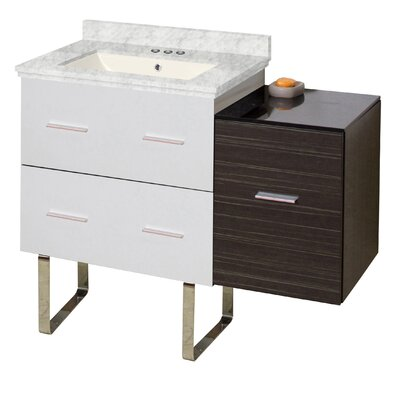 Hinerman 38 Single Bathroom Vanity Set Base/Top Finish: White/Dawn Gray/Bianca Carrara, Sink Finish: Biscuit, Faucet Mount: 4 Centers