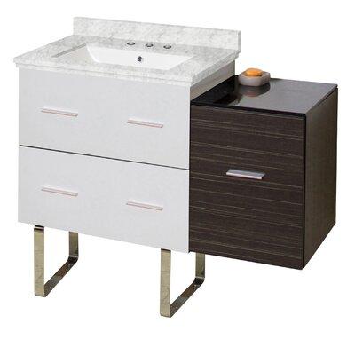 Hinerman 38 Single Bathroom Vanity Set Base/Top Finish: White/Dawn Gray/Bianca Carrara, Sink Finish: White, Faucet Mount: 8 Centers