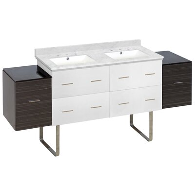 Hinerman 75 Double Bathroom Vanity Set Top Finish: Bianca Carrara, Sink Finish: White, Faucet Mount: 8 Centers