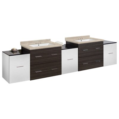 Hinerman 90 Wall-Mounted Double Bathroom Vanity Set Top Finish: Beige, Sink Finish: White, Faucet Mount: 4 Centers