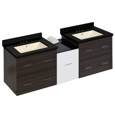 Hinerman 62 Wall-Mounted Double Bathroom Vanity Set Base/Top Finish: Gray/Black Galaxy, Sink Finish: Biscuit, Faucet Mount: 4 Centers