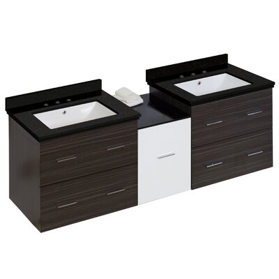 Hinerman 62 Wall-Mounted Double Bathroom Vanity Set Base/Top Finish: Gray/Black Galaxy, Sink Finish: White, Faucet Mount: 8 Centers