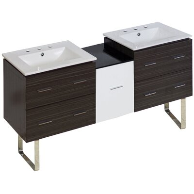 Hinerman 62 Double Bathroom Vanity Set Base Finish: Dawn Gray, Faucet Mount: 8 Centers