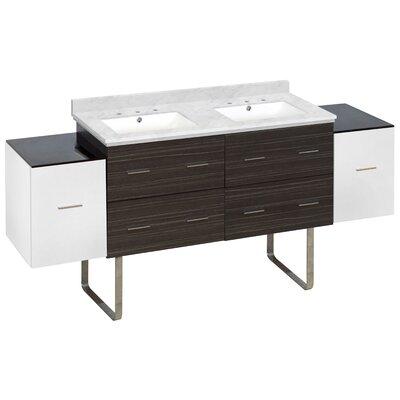Hinerman 76 Double Bathroom Vanity Set Top Finish: Bianca Carrara, Sink Finish: White, Faucet Mount: 8 Centers