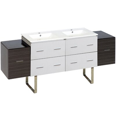 Hinerman 75 Double Bathroom Vanity Set Faucet Mount: Single Hole