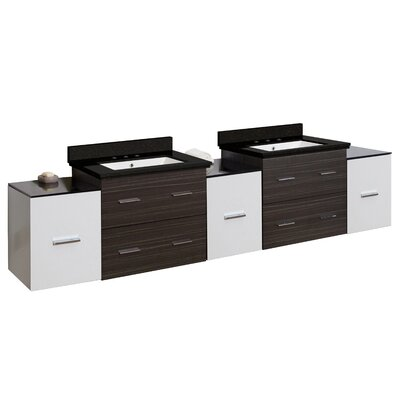 Hinerman 90 Wall-Mounted Double Bathroom Vanity Set Top Finish: Black Galaxy, Sink Finish: White, Faucet Mount: 8 Centers