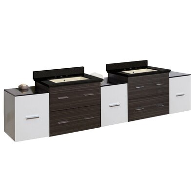 Hinerman 90 Wall-Mounted Double Bathroom Vanity Set Top Finish: Black Galaxy, Sink Finish: Biscuit, Faucet Mount: 8 Centers