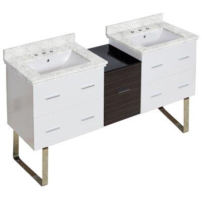 Hinerman 62 Double Bathroom Vanity Set Base/Top Finish: White/Bianca Carrara, Sink Finish: White, Faucet Mount: 8 Centers