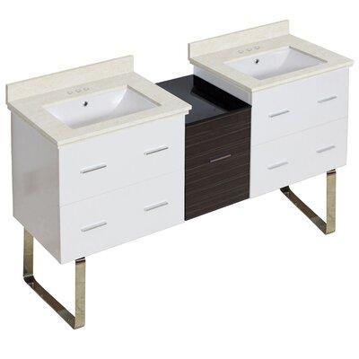 Hinerman 62 Double Bathroom Vanity Set Sink Finish: White, Faucet Mount: 4 Centers