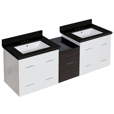 Hinerman 62 Wall-Mounted Double Bathroom Vanity Set Base/Top Finish: White/Black Galaxy, Sink Finish: White, Faucet Mount: 4 Centers