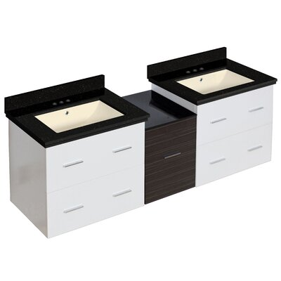 Hinerman 62 Wall-Mounted Double Bathroom Vanity Set Base/Top Finish: White/Black Galaxy, Sink Finish: Biscuit, Faucet Mount: 4 Centers
