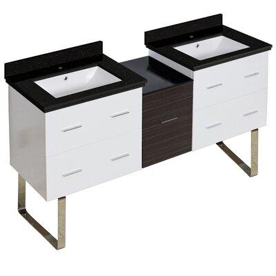 Hinerman 62 Double Bathroom Vanity Set Base/Top Finish: White/Black Galaxy, Sink Finish: White, Faucet Mount: Single Hole