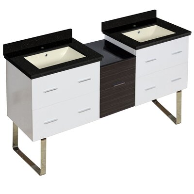 Hinerman 62 Double Bathroom Vanity Set Base/Top Finish: White/Black Galaxy, Sink Finish: Biscuit, Faucet Mount: Single Hole