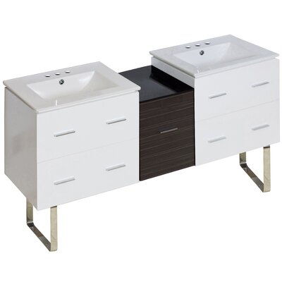 Hinerman 62 Double Bathroom Vanity Set Base Finish: White, Faucet Mount: 4 Centers
