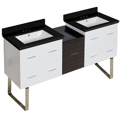 Hinerman 62 Double Bathroom Vanity Set Base/Top Finish: White/Black Galaxy, Sink Finish: White, Faucet Mount: 4 Centers