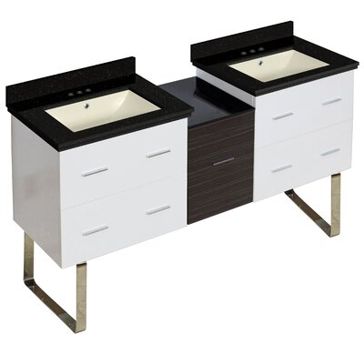 Hinerman 62 Double Bathroom Vanity Set Base/Top Finish: White/Black Galaxy, Sink Finish: Biscuit, Faucet Mount: 4 Centers