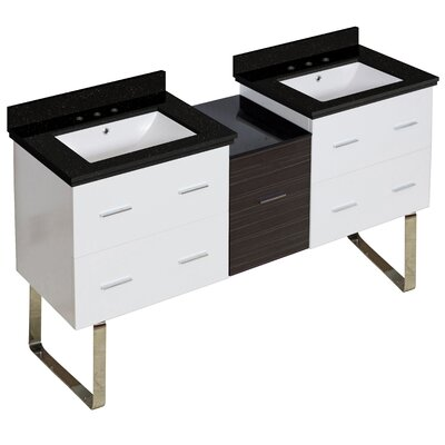 Hinerman 62 Double Bathroom Vanity Set Base/Top Finish: White/Black Galaxy, Sink Finish: White, Faucet Mount: 8 Centers