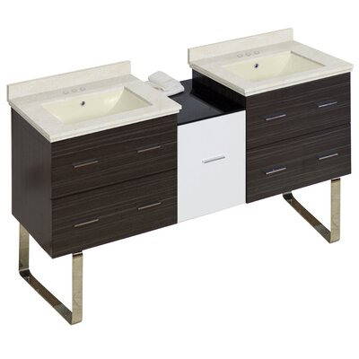Hinerman 62 Double Bathroom Vanity Set Sink Finish: Biscuit, Faucet Mount: 4 Centers