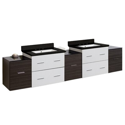 Hinerman 89 Wall-Mounted Double Bathroom Vanity Set Top Finish: Black Galaxy, Sink Finish: White, Faucet Mount: 8 Centers