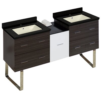 Hinerman 62 Double Bathroom Vanity Set Base/Top Finish: Gray/Black Galaxy, Sink Finish: Biscuit, Faucet Mount: Single Hole