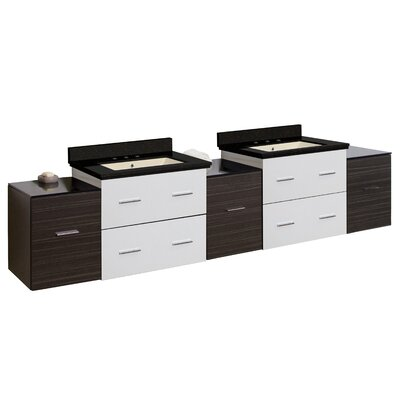 Hinerman 89 Wall-Mounted Double Bathroom Vanity Set Top Finish: Black Galaxy, Sink Finish: Biscuit, Faucet Mount: 8 Centers